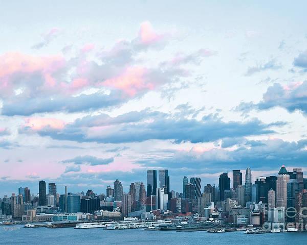 New York Skyline Sundown Poster featuring the photograph Nyc Sundown Blue II by Regina Geoghan