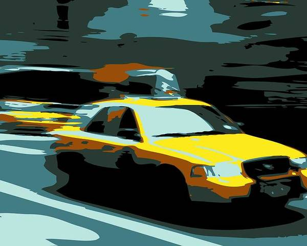 Taxi Poster featuring the photograph Nyc Taxi Color 6 by Scott Kelley