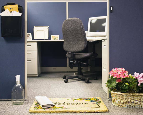 Blue Poster featuring the photograph Office Cubicle by Andersen Ross