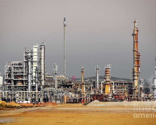 Atmosphere Poster featuring the photograph Oil Refinery by Carlos Caetano