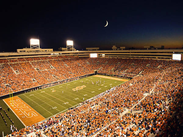 Osu Poster featuring the photograph Oklahoma State Boone Pickens Stadium Under The Lights by Oklahoma State University