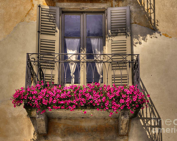 Balcony Poster featuring the photograph Old Balcony With Red Flowers by Mats Silvan