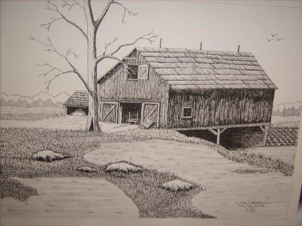 Old Barns Poster featuring the mixed media Old Barn by William Deering