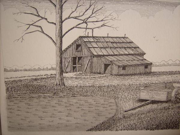 Old Barns Poster featuring the mixed media Old Barn2 by William Deering