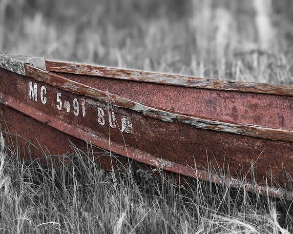 Antique Boat Poster featuring the photograph Old Boat Washed Ashore by Joe Gee