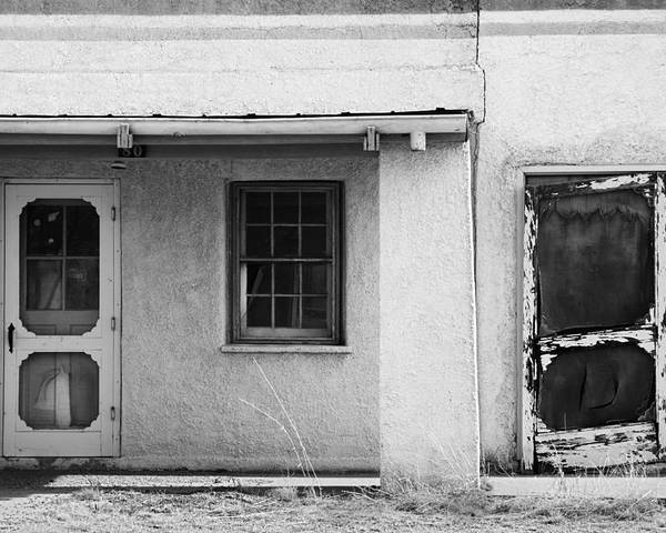 Black And White Poster featuring the photograph Old Buiding Near Silver City by Bob Russman
