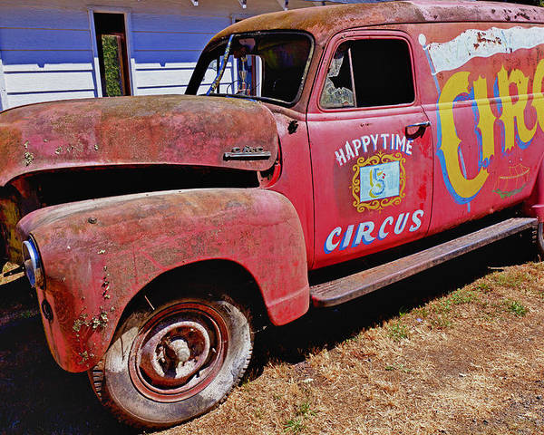 Red Poster featuring the photograph Old Circus Truck by Garry Gay