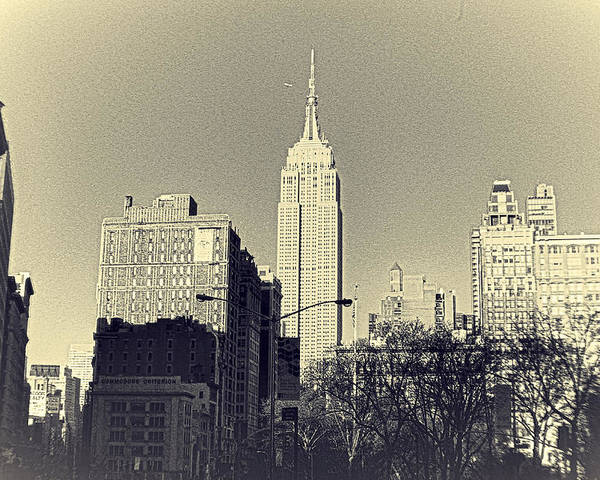 Empire State Building Poster featuring the photograph Old-fashioned Empire State Building by Alex AG