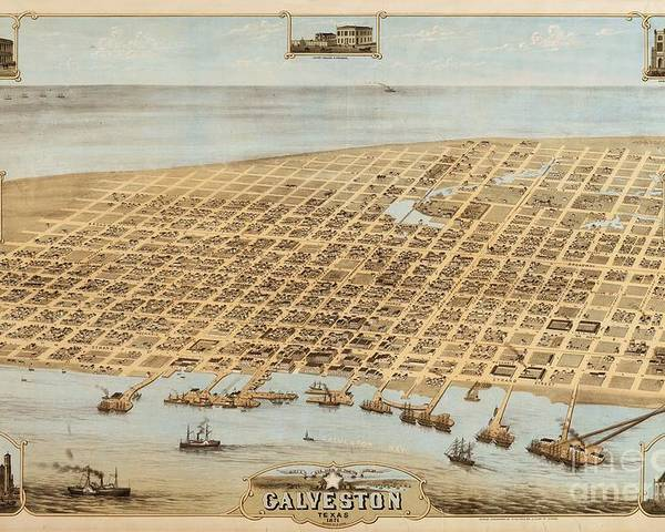 Reproduction Poster featuring the drawing Old Galveston Map by Pg Reproductions