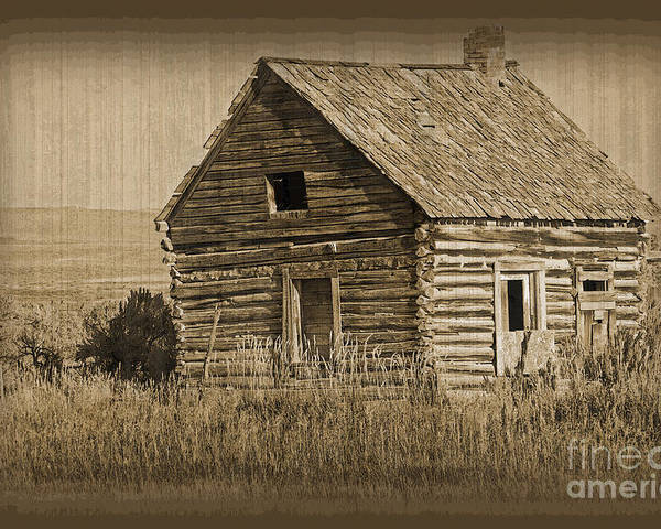 Fine Art Poster featuring the photograph Old Hunting Cabin - Wyoming by Donna Greene