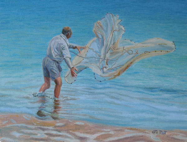 Bermuda Poster featuring the painting Old Man Casting Net by Otto Trott