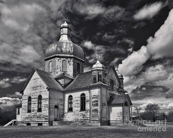 Church Poster featuring the photograph Old Prairie Church And Storm Front by Royce Howland