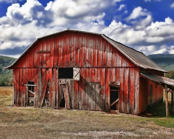 Barn Poster featuring the photograph Old Red Barn by Renee Hardison