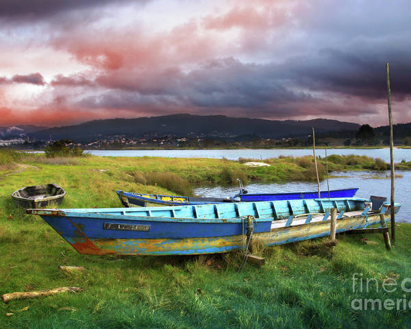 Autumn Poster featuring the photograph Old Row Boats by Carlos Caetano