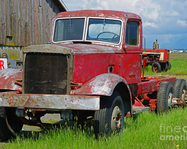 Trucks Poster featuring the photograph Old Rusted Semi-truck by Randy Harris