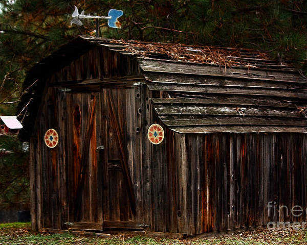 Shed Poster featuring the photograph Old Shed Oakhurst by Marjorie Imbeau