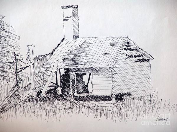 Shed Poster featuring the drawing Old Shed by Rod Ismay
