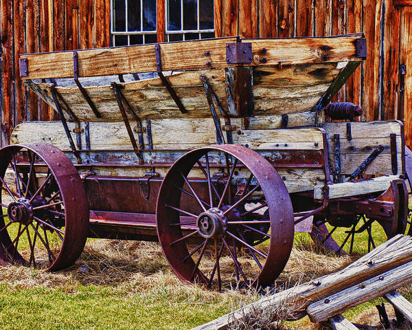 Old Wagon Bodie Ghost Town Poster featuring the photograph Old Wagon Bodie Ghost Town by Garry Gay
