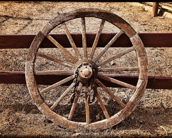 Western Poster featuring the photograph Old West Wheel by Kelley King