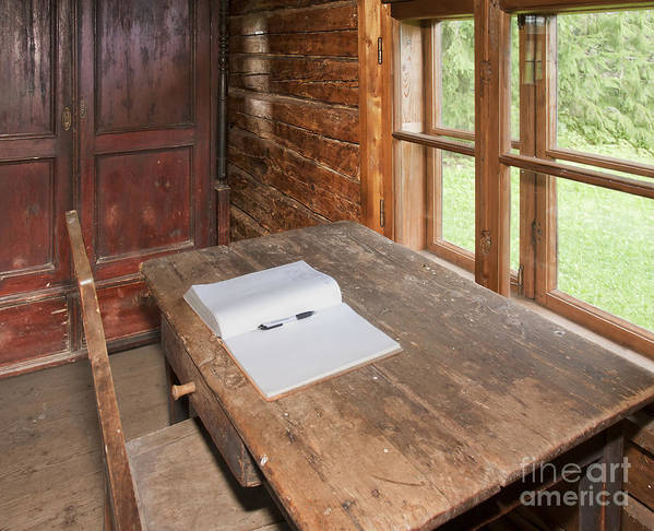 Book Poster featuring the photograph Old Wooden Desk And Chair by Jaak Nilson