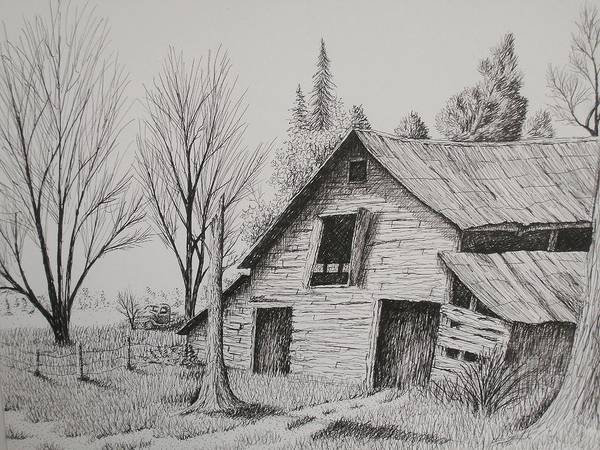 Pen And Ink Landscapes Poster featuring the drawing Olde Barn With Truck by Chris Shepherd