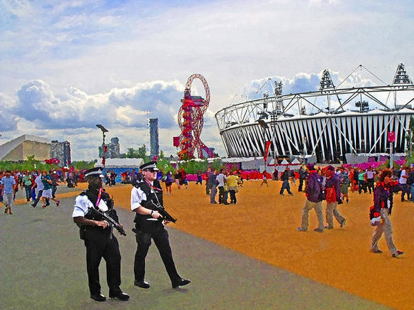 Olympic Stadium Poster featuring the photograph Olympic 2012 Stadium Security by Peter Allen