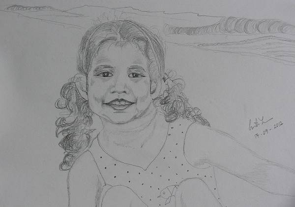 Portraits Poster featuring the painting On The Beach by Geeta Biswas
