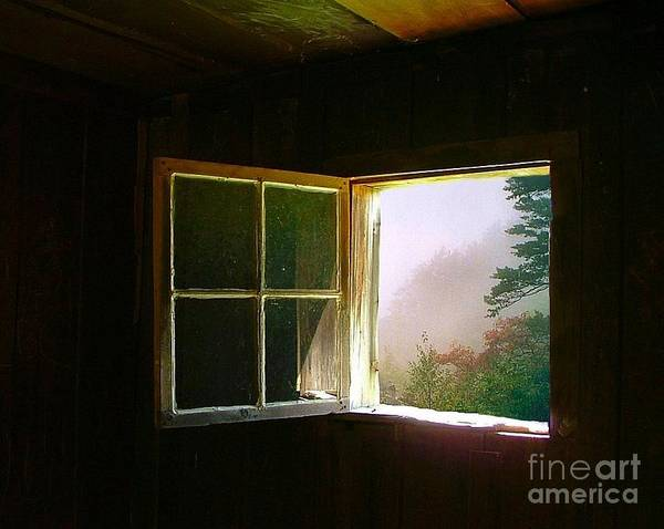 Log Cabin Poster featuring the photograph Open Cabin Window In Spring by Julie Dant