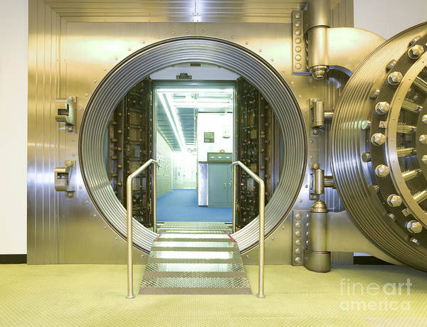Architectural Poster featuring the photograph Open Vault At A Bank by Adam Crowley