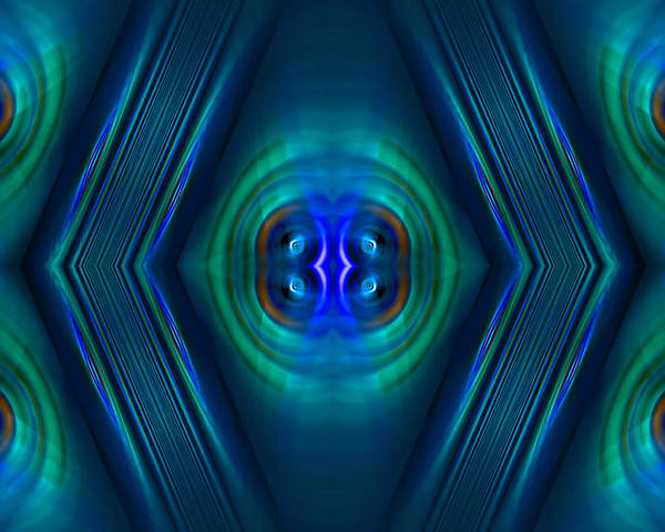 Fractals Poster featuring the digital art Optical Blue by Carolyn Marshall