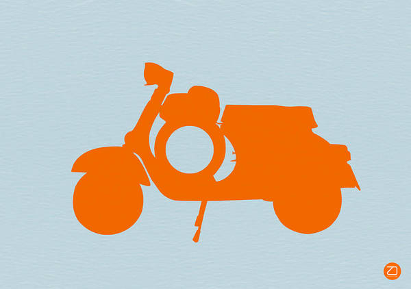 Scooter Poster featuring the photograph Orange Scooter by Naxart Studio