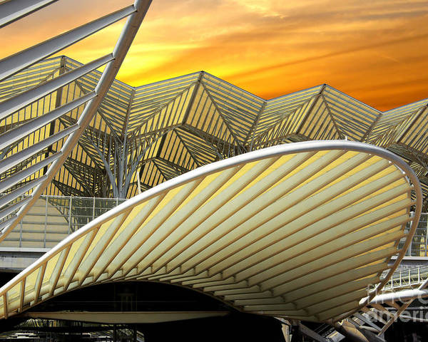 Abstract Poster featuring the photograph Oriente Station by Carlos Caetano