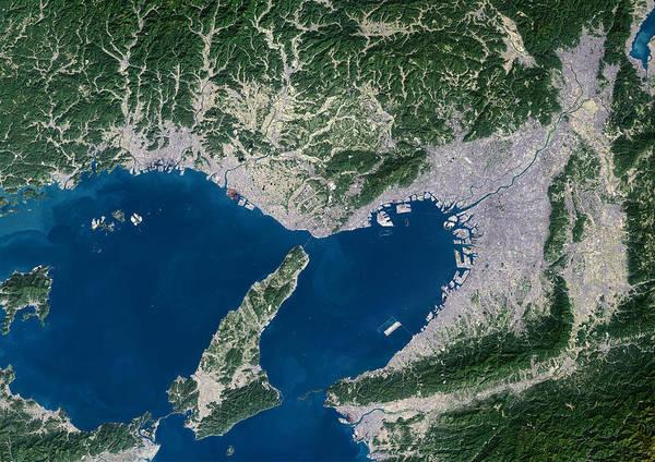 Osaka Poster featuring the photograph Osaka, Satellite Image by Planetobserver