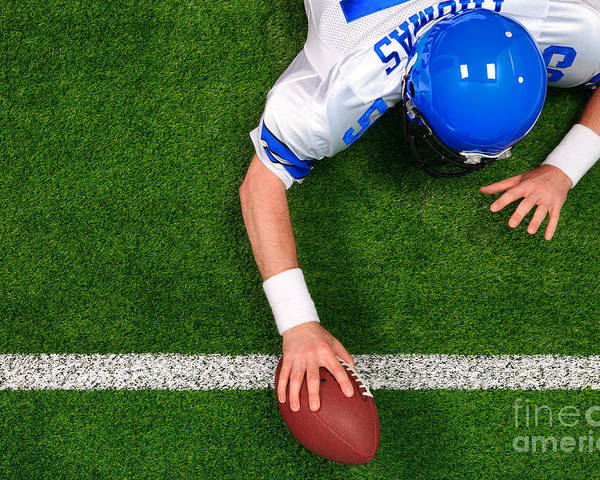 American Football Poster featuring the photograph Overhead American Football Player One Handed Touchdown by Richard Thomas