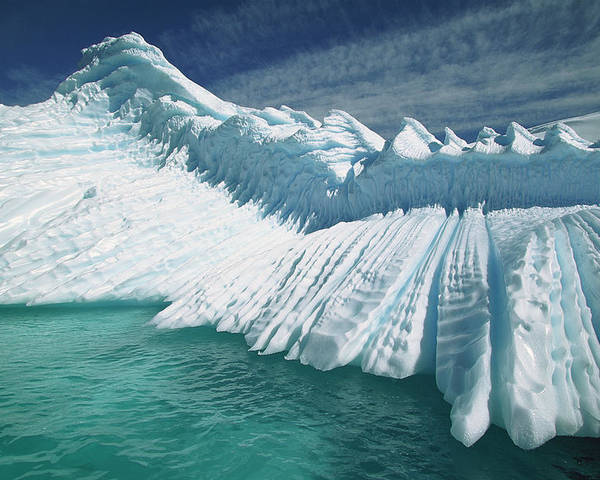 Hhh Poster featuring the photograph Overturned Iceberg With Eroded Edges by Colin Monteath