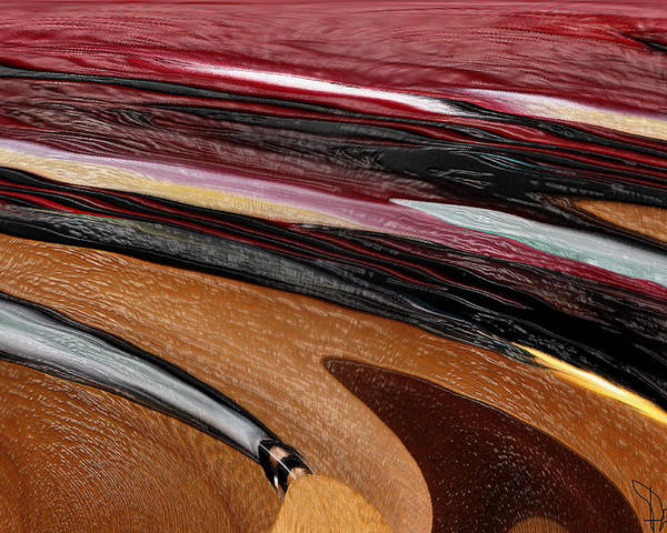 Red Poster featuring the digital art Paint Strokes by Pam Gleichman