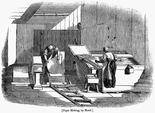 1833 Poster featuring the photograph Papermaking, 1833 by Granger