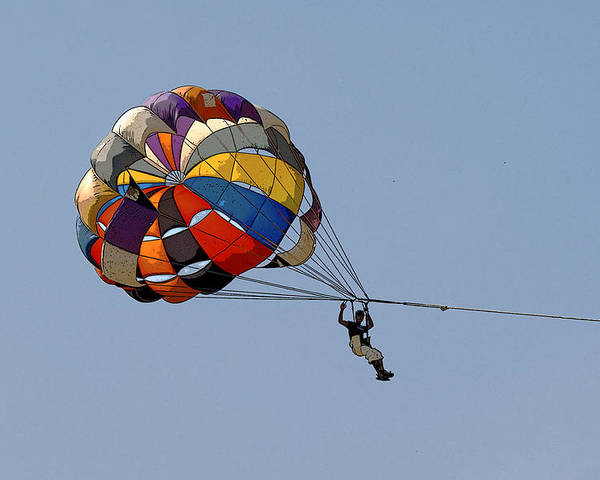 Vibrant Poster featuring the photograph Paraglider Blue by Kantilal Patel