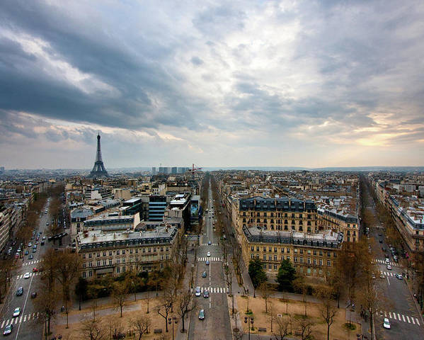 Horizontal Poster featuring the photograph Paris And Eiffel Tower At Sunset by Philipp Kern