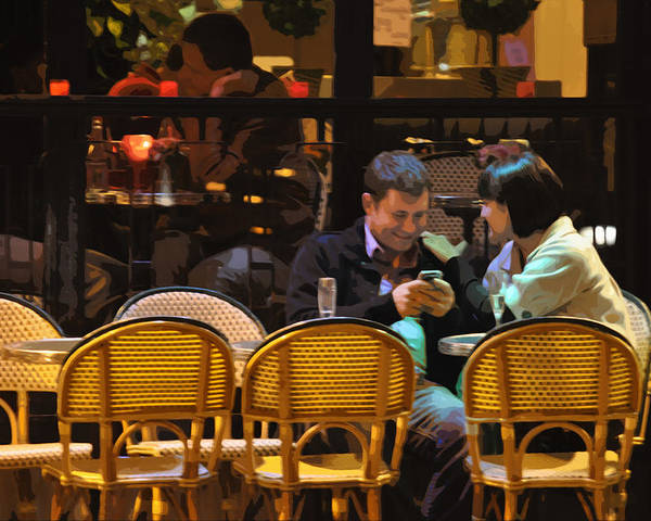 Paris At Night In The Cafe Poster featuring the photograph Paris At Night In The Cafe by Mary Machare