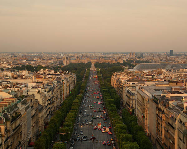 Horizontal Poster featuring the photograph Paris View At Sunset by CNovo