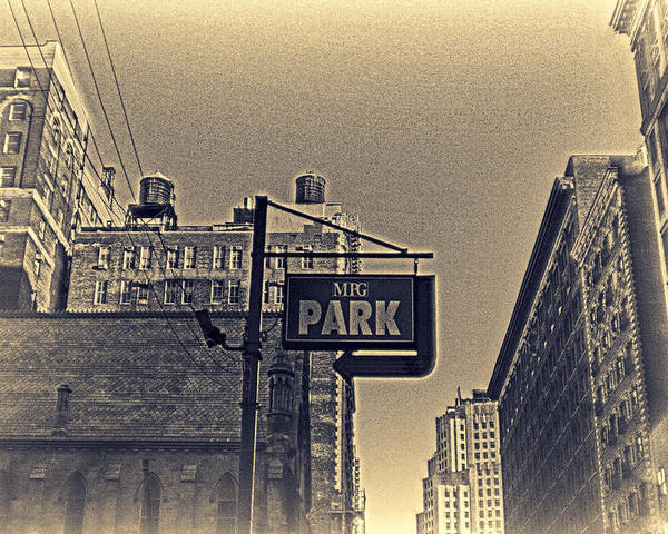 Cityscape Poster featuring the photograph Parking In Sepia by Alex AG