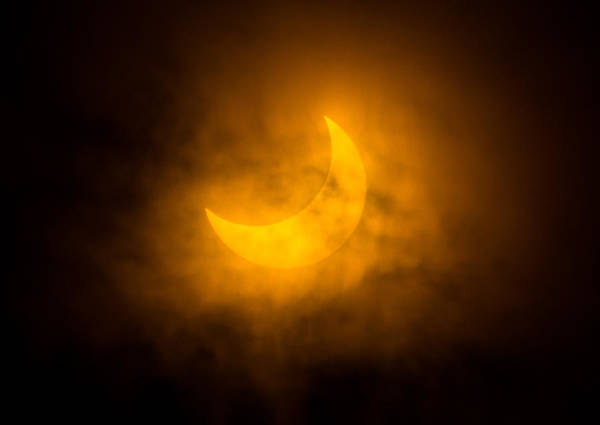 Solar Eclipse Poster featuring the photograph Partial Solar Eclipse Through Fog by Greg Nyquist