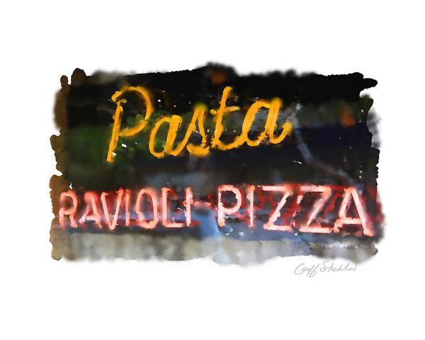Neon Sign Pasta Ravioli Pizza Italian Restaurant Wauwatosa Tosa Balestreri's Poster featuring the digital art Pasta by Geoff Strehlow