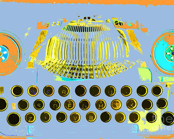 Anahi Decanio Poster featuring the mixed media Pastel Pop Typewriter Art by ArtyZen Studios