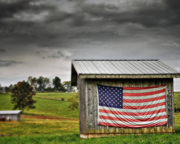Usa Poster featuring the photograph Patriotic Shed by Kathy Jennings