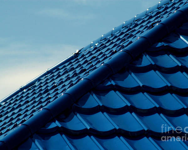 Corrugated Poster featuring the photograph Pattern Of Blue Roof Tiles by Antoni Halim