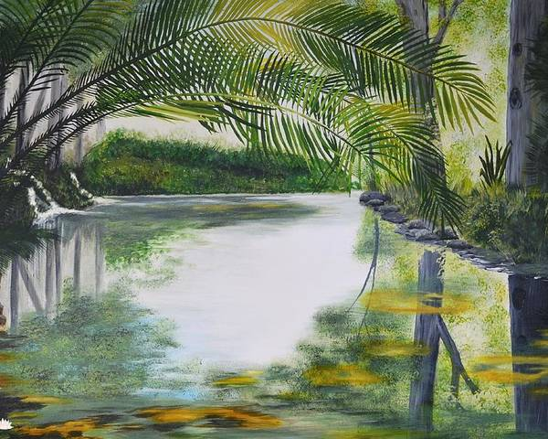 Peaceful Pond. Pond. Palms. Landscape. Water. Stellenbosch. Reflections. Reflections On Water Poster featuring the painting Peaceful Pond by Tessa Dutoit