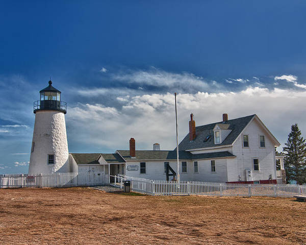 Buildings Poster featuring the photograph Pemaquid Point Lighthouse 4800 by Guy Whiteley