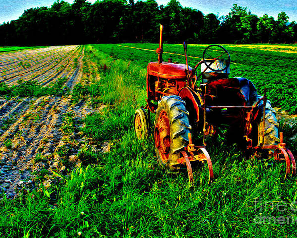 Tractor Poster featuring the digital art Pennsylvania Farm by Tony Cooper